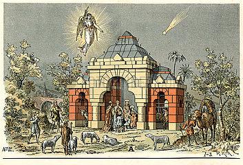 Jesuskind in der Krippe  Hirten  Bauvorlage fuer Steinbaukasten  1900