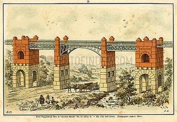 Bauvorlage fuer eine Bruecke  Baukasten  Firma F. AD. Richter & Cie.  Rudolstadt  Spielwaren  1900