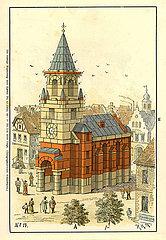 Bauvorlage fuer eine Kirche  Baukasten  Firma F. AD. Richter & Cie.  Rudolstadt  Spielwaren  1900