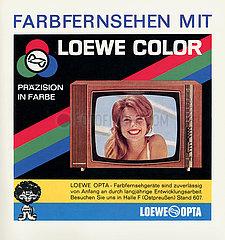Werbung fuer Farbfernsehen von Loewe Opta  Farbfernsehstart Berlin  August 1967