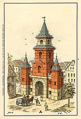 Bauvorlage fuer ein Stadttor  Baukasten  Firma F. AD. Richter & Cie.  Rudolstadt  Spielwaren  1900
