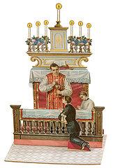 Erste Heilige Kommunion  Erstkommunionkind mit Priester  Klappkarte  1903