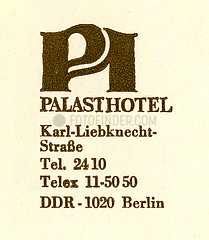 Briefkopf Palasthotel  Berlin  DDR  1987