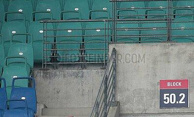 Leere Sitzplaetze im Stadion von RB Leipzig