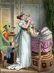 Mutter mit zwei kleinen Kindern  1810