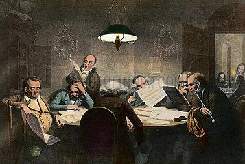 Maenner lesen Zeitung im Club  1850