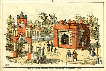 Bauvorlage fuer einen Zoo  Tierpark  Baukasten  Firma F. AD. Richter & Cie.  Rudolstadt  Spielwaren  1900