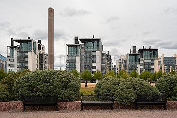 Helsinki  Finnland  Wohnviertel mit Mehrfamilienhaeusern im Sueden der Hauptstadt