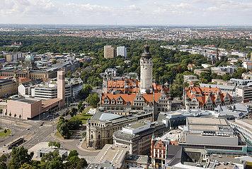 Stadtpanorama  Rathaus  Leipzig  Sachsen  Deutschland