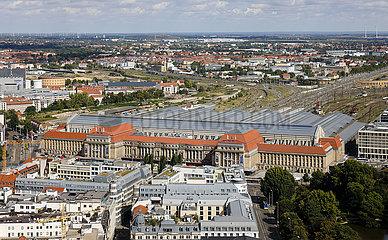 Stadtpanorama  Altstadt  Hauptbahnhof  Leipzig  Sachsen  Deutschland