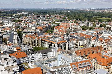 Stadtpanorama  Altstadt  Marktplatz  Leipzig  Sachsen  Deutschland