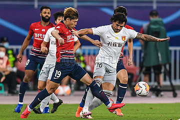 (SP) CHINA-SUZHOU-FOOTBALL-CHINESE SUPER LIGA-CHONGQING VS HEBEI (CN)