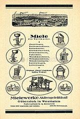 Miele die Weltmarke  Anzeige  Werbung  1926