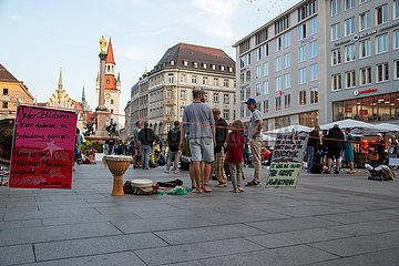 Esoterische Demo gegen die Corona Maßnahmen in München