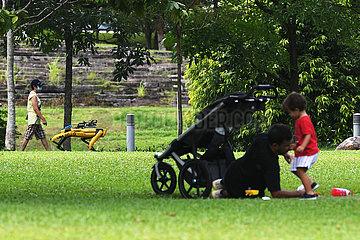 SINGAPUR-COVID-19-ROBOT DOG-TRIAL