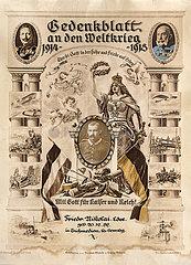 Gedenkblatt an die Soldatenzeit im Ersten Weltkrieg  1918