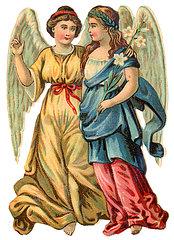 zwei Engel  Poesiebild  1898
