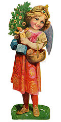 Christkind mit Geschenken  Poesiebild  1909