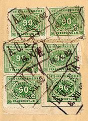 sehr seltene AOK Beitragsmarken  Frankfurt a.M.  1892