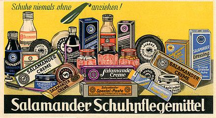 Salamander Schuhpflegemittel  Werbetafel  um 1932