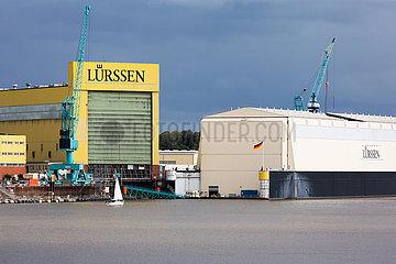 Deutschland  Bremen - Fr. Luerssen Werft GmbH & Co. KG  bekannt fuer den Bau militaerischer Schnellboote und Megajachten fuer Scheiche und Oligarchen