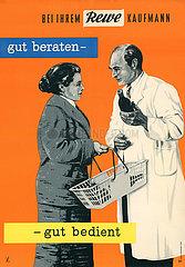 alte original Rewe Werbeplakat  1956