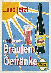 alte original Rewe Werbeplakat  Getraenkewerbung  1956