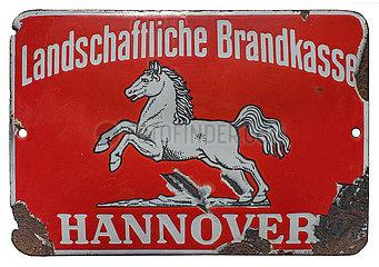altes original Versicherungsschild  Landschaftliche Brandkasse Hannover  1929