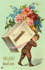 Neujahrskarte  um 1908