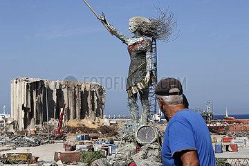 LIBANON-BEIRUT-EXPLOSION-STATUE