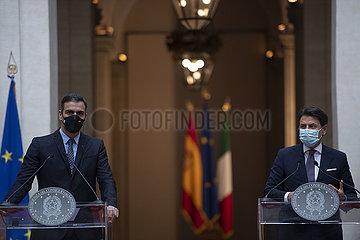 Italien-ROM-PM-SPAIN-PM-PRESSEKONFERENZ-EU RECOVERY FUND