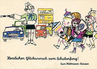 Herzlichen Glueckwunsch zum Schulanfang  Eure Thaelmann-Pioniere  Postkarte  DDR  1975