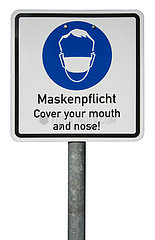 neue Maskenpflicht in der Muenchener Innenstadt  Schild  24.10.2020