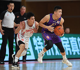 (SP) CHINA-ZHUJI-BASKETBALL-CBA-LIGA-QINGDAO EAGLES VS BEIJING ROYAL FIGHTERS (CN)