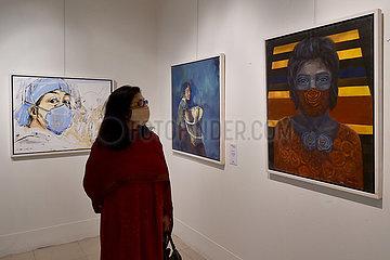 BANGLADESH-DHAKA-COVID-19-AWARENESS-ART-EXHIBITION