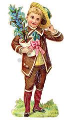 Junge gratuliert mit Blumen  Poesiealbum  1900