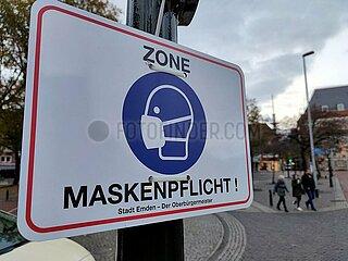Maskenpflicht in der Innenstadt von Emden
