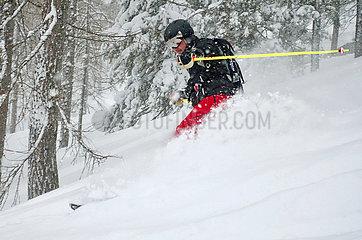 Krippenbrunn  Oesterreich  Skifahrer faehrt im Tiefschnee