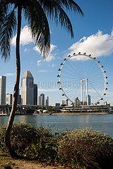Singapur  Republik Singapur  Stadtansicht Innenstadt mit Singapore Flyer Riesenrad und Hochhaeusern