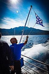 Katamaran Dodekonisos Pride vor der Vulkaninsel Nisyros  Insel der Dodekanes