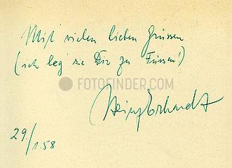 Heinz Erhardt  Humorist  Autogramm mit Widmung  1958
