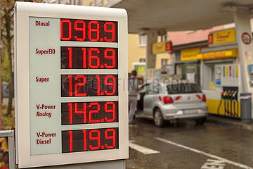 Dieselpreis unter einem Euro  Tankstelle  Muenchen  November 2020