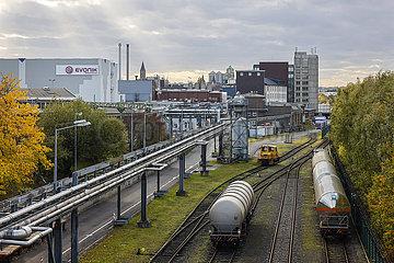 Chemiewerk Evonik  Firmengelaende mit eigenem Bahnanschluss  Essen  Nordrhein-Westfalen  Deutschland