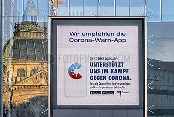 Werbekampagne der Bundesregierung fuer die Corona Warn App  Muenchen  November 2020