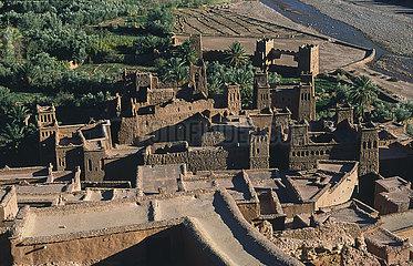 Ouarzazate  Marokko  Altertuemliche Lehmbauten der Festung von Ksar Aït-Ben-Haddou
