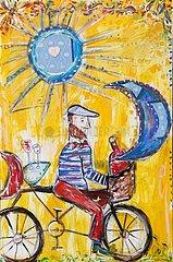 Der Fahrradfahrer und die Flasche Rotwein