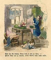 Maedchen betreut ihre kleinen Geschwister  Illustration  1860