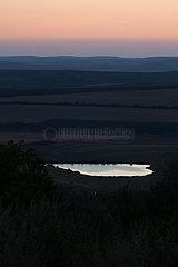 Republik Moldau  Horodiste - Teich in der Abenddaemmerung