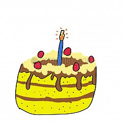 birthday cake with a candle illustration
