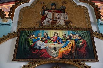 Republik Moldau  - Gemaelde mit Darstellung des Abendmahls Jesu  Teil der Ikonostase in der Klosterkirche